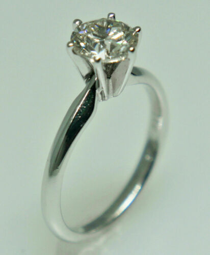FINE EGL Certified 1.00 Ct Round Brilliant Cut Diamond Solitaire Wedding Ring