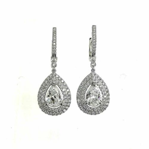 2.35 Carats t.w. Double Halo Diamond Dangle Hinge Earrings 18K 1.45 Pear Centers