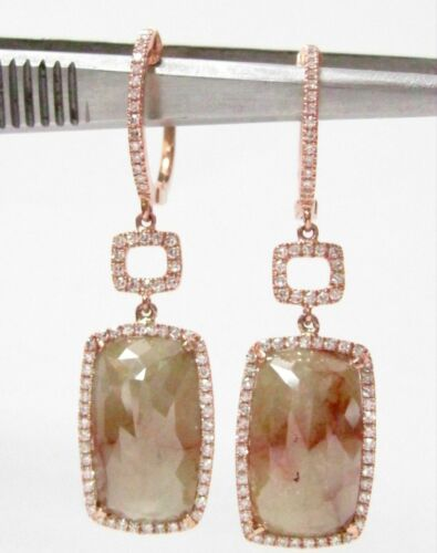 9.98ct Radiant Shape Raw/Rustic Brown Diamond Dangle/Drop Earrings 14k Rose Gold