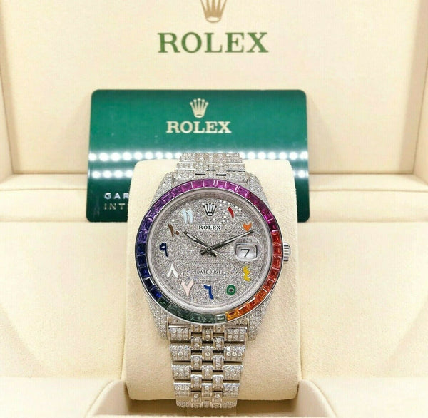 Rolex Datejust II 40mm Diamond and Sapphire Bust Down Iced Out Steel Watch126300