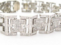 Huge & Heavy 22 Carat Princess Cut Diamonds Men's Bracelet G SI-1 14k White Gold