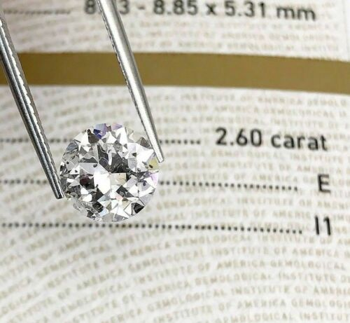 Loose GIA Diamond 2.60 Carats GIA Old European Cut Diamond GIA Certified E I1