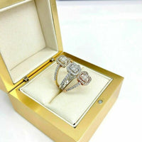 1.48 Carats Triple Diamond Halo Wedding/ Anniversary Ring 18K TriColor Gold