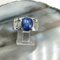 14k White Gold Star Sapphire Ring with Diamond Baguettes