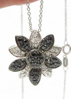 Fine Round Brilliants Black and White Diamond Flower Pendant Necklace 14k WG
