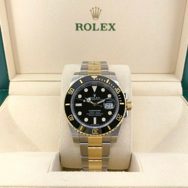 Rolex 40MM Ceramic Two Tone 18K Gold Steel Black Submariner Date Ref 116613LN
