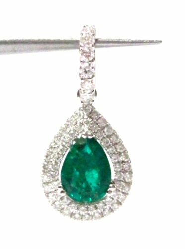 FINE PEAR DROP EMERALD DIAMOND PENDANT 18KT W/G