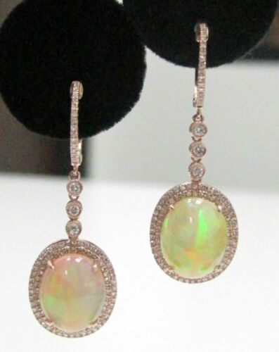 6.34Ct Diamond Hoop & Fire Opal Center w/ 2 Rows Accents Drop/Dangling Earrings