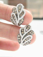 1.52 TCW Natural Round Champagne & White Diamonds Huggie Earrings G VS2 14k Gold