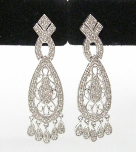 Fine Art Deco-style Chandelier Dangling Diamond Earrings G-H VS1 14k White Gold