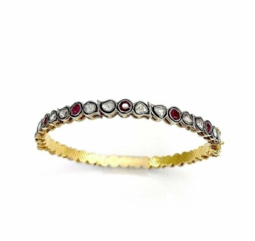 4.15 Cts Natural Rose Cut Diamond & Ruby Bangle/Bracelet 14k Gold and Silver