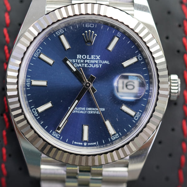 Rolex DateJust II Fluted Bezel and Blue Dial 41 MM R#126334