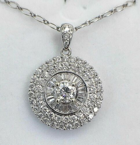 1.97 Carats t.w. Diamond Halo Pendant 0.47Ct Center 18K Gold 0.75 Inch Diameter