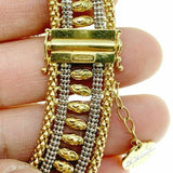 Solid 18K Two Tone Gold Beaded 5 Row Necklace and Bracelet Set 101.7 Grams