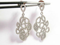 FINE Natural Rounds Art Deco Dangling Diamond Earrings 14kt White Gold