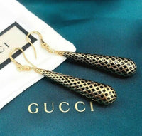 GUCCI Italian Made 18K Yellow Gold Diamantissima Black Enamel Drop Earrings