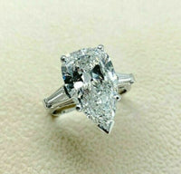 4.64 Carats tw. Pear Shape Center Diamond Engagement Ring GIA 4.34 E SI 1 Center