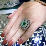 2.88 Carats t.w. Diamond and Emerald Ring Emerald is 1.63 Carats Vintage 1980's