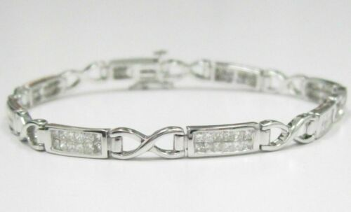 2.20 TCW Princess Cut 2 Row Diamond Bracelet 7 Inches 14k Whit Gold