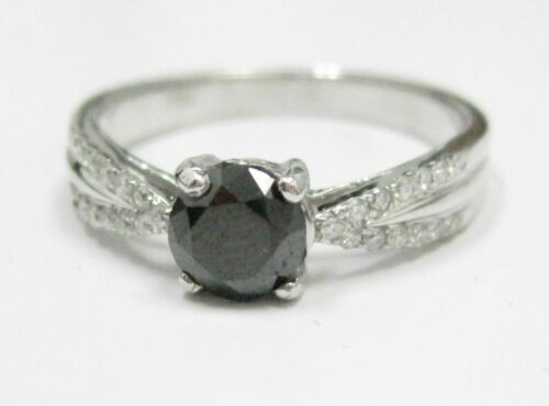 .98 TCW Handmade Round Black Diamond Solitaire Engagement Ring Size 7 18kt