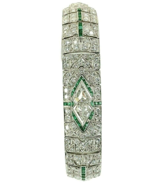 Antique Art Deco 13.17 Carats t.w. F - G VS- VVS -Diamond and Emerald Bracelet