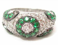 2.31 TCW Round Green Tsavorite Garnet & White Diamond Accents Ring Size 7 14k