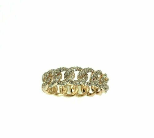 0.94 Carat t.w. Pave' Diamond Cuban Link/Chain Eternity Ring 14K Rose Gold 5.3MM