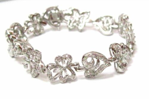 2.90 TCW Round & Baguette Diamond Charm Tennis Bracelet G SI1 18k White Gold 7In