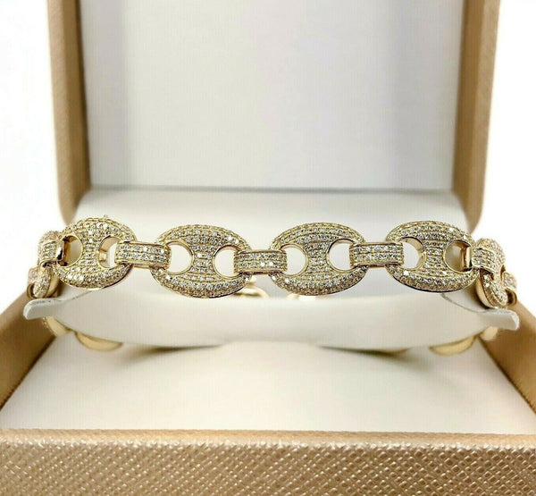 Men's 4.20 Carats Puffed Gucci Mariner Pave Set Round Diamond Bracelet 14K Gold