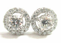 Fine .91TCW Floral Round Diamond Stud Earrings Push Back I SI2 18k White Gold