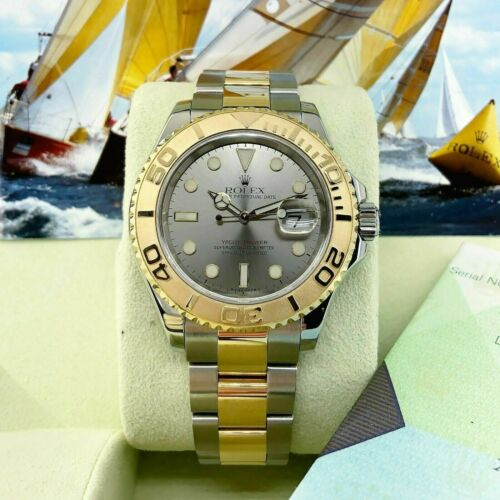 Rolex 40MM Mens Yacht Master 18K Gold and Steel Watch Ref #16623 D Serial Papers