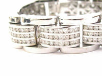 20.10 TCW 3 Rows Round Cut Diamond Men's Fashion Bracelet G-SI-1 14k White Gold
