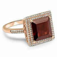 3.75 TCW Natural Princess Garnet & Diamond Accents Ring Sz 7 14k Rose Gold