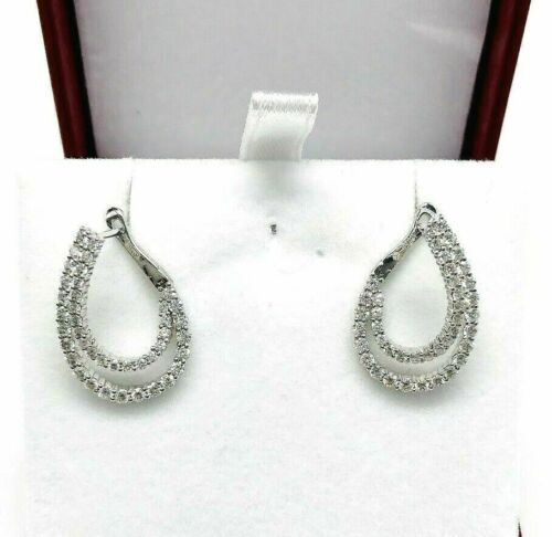1.51 Carats t.w. Double Row Round Diamond Earrings 18K White Gold