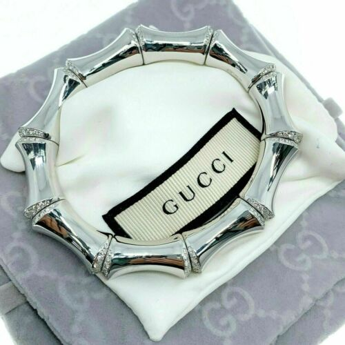 GUCCI Italian Made Jumbo 18K White Gold Factory Diamond Bamboo Stretch Bracelet