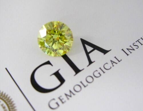 2.27 Carat Fancy Vivid Yellow VVS2 Round Brilliant Cut Loose Diamond