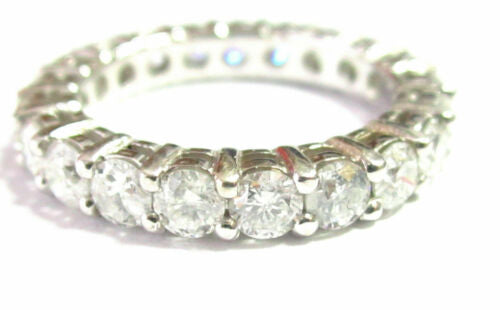 3.5mm 2.15TCW Round Diamond Eternity Ring/Band G VS1 Shared Prongs Sz 5.5 14 WG