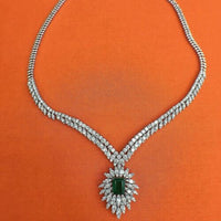 14.72 Carats t.w. Diamond and emerald Dinner Necklace 14K Gold 36 Grams