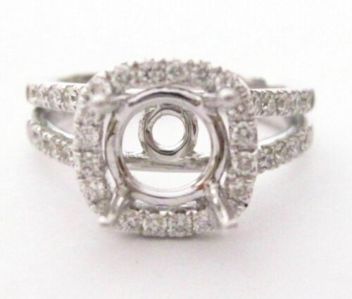 18k White Gold Cushion Halo Split Shank Diamond Semi-Mounting Size 7 1.35Carats
