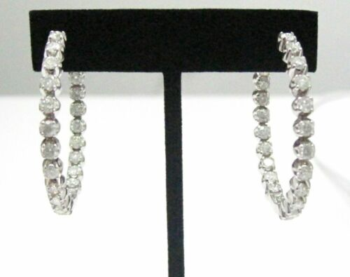 24mm 1.30 TCW Round Hoops In & Out Diamond Earrings G-H SI-1 14kt White Gold