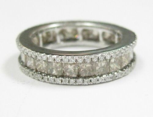 2.62 TCW Natural Champgane Princess Cut & Round Diamonds Eternity Band 14kt