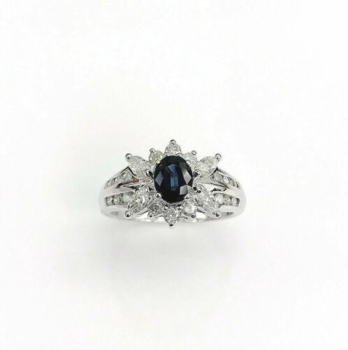 1.43 Carats t.w. Diamond and Sapphire Cocktail Ring 14K Gold 0.68 Carat Sapphire