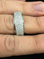 Fine Sterling Silver and Cubic Zirconia Spinning/Spinner Fashion Ring Band