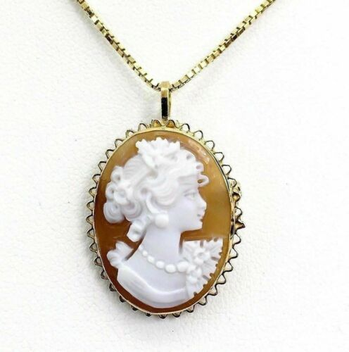 Vintage Solid 18 Karat Yellow Gold Cameo Pendant/Brooch w 14K Gold Box 18 Inch