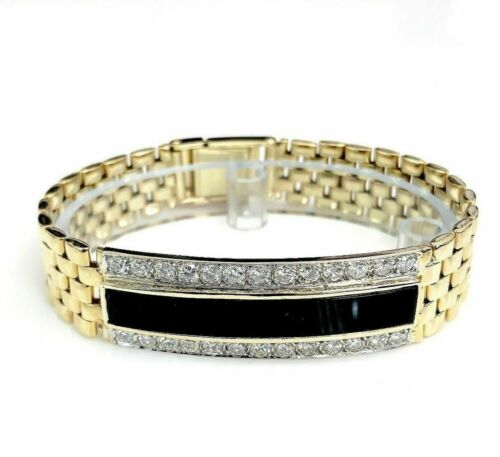$15,420 Retail Vintage Onyx 2.60 Carats Diamond ID Bracelet VS Diamonds Italian