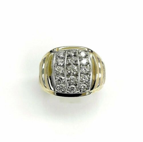 1.52 Carats t.w. Diamond Signet Mens Ring 14K 2 Tone Gold 10.6 Grams 15 Diamonds