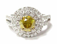 2.12 TCW Round Natural Fancy Yellow Diamond Engagement Ring Size 6.5 18k Gold