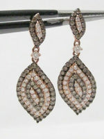 FINE Leaf Drop Round Brilliants Champagne Diamond Dangling Earrings 14kt RG