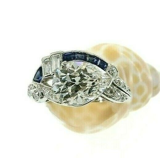 3.46 Carats Antique GIA Pear and Sapphire Engagement Ring 2.55 GIA F VVS1 Center
