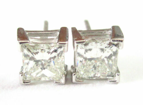 2.14 TCW Princess Cut Diamond Stud Earrings Screw Back G VS2-SI1 14k White Gold